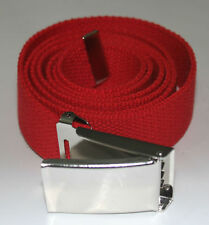"NEW FLIP TOP ADJUSTABLE 50"" INCH RED MILITARY WEB CANVAS CHROME BELT BUCKLE"