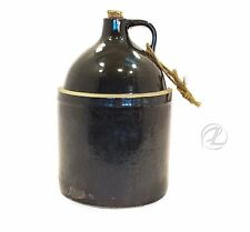 Primitive Jug Whiskey Antique Stoneware Dark Brown Large Salt Pottery VTG Water