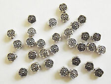 40 Metal Antique Silver Flower Shape Spacer Beads - 6mm