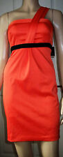 RIVER ISLAND Orange Black Satin Look Hollywood Wiggle One Shoulder  Dress Size 6