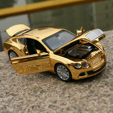 1:32 Bentley GT W12 Car Model Sound&Light Alloy Diecast Golden-Yellow Plated Toy
