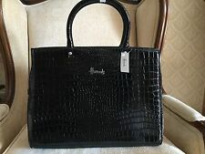 AUTHENTIC HARRODS BLACK ARGYLE MOCK CROC TOTE/GRAB  BAG BNWT