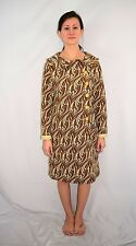 Vintage 60's 70's Mod Go Go Scooter Psychedelic Polyester Knit Coat Dress - S/M