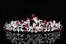Bridal Wedding Red Crystal Rhinestone Prom Crown Tiara V657
