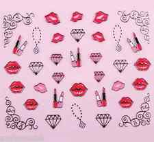 Valentines Lips & Love Hearts Lace 3D Design Nail Art Stickers Decals  NEW (89S)