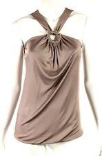 GUCCI Mauve Jersey Gold Metal Bamboo Buckle Front Ring Sleeveless Top L