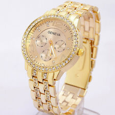Luxury Geneva Women Bling Stainless Steel Gold Crystal Wrist Watch Decor Gift