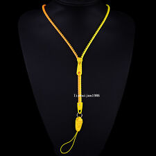 NEW Free shipping zipper necklace Employee's card/key hang rope orange+yellowF77