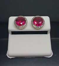 10K Yellow Gold Earring With 0.20CT & Diamond 6.21CT Round Red Ruby Screw Back
