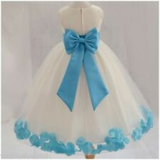 Girls Christening Bridesmaid Party Dress Petal Bow Tutu Chiffon Flower Petals