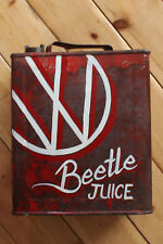 """Red VW Volkswagen Beetle Juice Tin"" Retro Vintage Garage Man Cave Bar Bug"