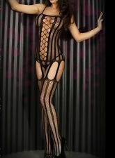 Sexy & Unique! BLACK Net BODY STOCKING! One Piece with Garter - HOT! 79401