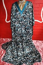 Long Glossy Poly Satin Sides Vented Kaftan Nightie Nightgown One Size