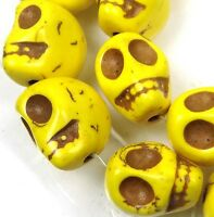 10 Yellow Turquoise Carved Skull Beads 18mm