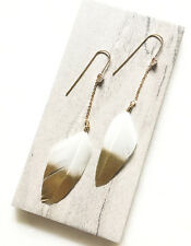 Gold Dipped White Feather Dangle Earrings * Bohemian Style * Boho Chic * NEW!