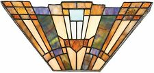 Stained Glass Wall Sconce Light Fixture Mission Tiffany-Style Art Deco Victorian
