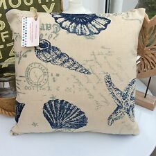CUSHION COVER SEASIDE FABRIC DUCK EGG BLUE INK SEASIDE  FISH SEA  STARFISH SHELL