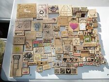 WOOD BACK RUBBER STAMP LOT OF 117 CHRISTMAS BIRTHDAY VALENTINES PLUS MANY EXTRAS