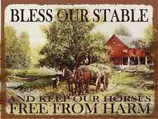 Bless Our Stable Metal Sign,  Vintage Farm, Horse and Hay Wagon, Country Decor