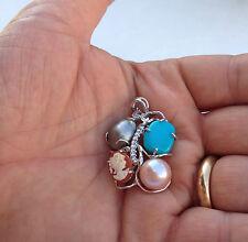 Ciondolo con perle turchese e cammeo argento 925 - made in italy