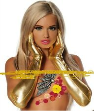 Cool Golden Fetish Noche Fiesta Guantes Pvc Latex Wet Look capa de pintura del Reino Unido Vendedor