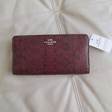 Coach Color Block Exotic Embossed Leather Skinny Wallet (Silver/Cyclamen)