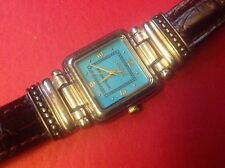 Ecclissi Sterling Silver Gold Accents & Turquoise Dial Ladies Watch
