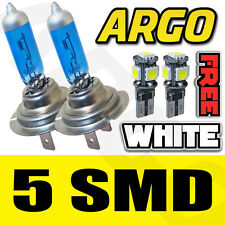 H7 100W XENON SUPER WHITE BULBS 8500K X2 PAIR 501 5 SMD LED CANBUS SIDELIGHT SET