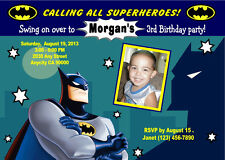 BATMAN SUPERHERO CUSTOM PHOTO BIRTHDAY PARTY INVITATION & FREE THANK YOU CARD