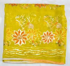Vintage Dupatta Long Indian Scarf Hand Emb Beaded Fabric Yellow Veil Stole Hijab