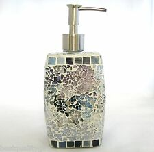 NEW MULTI RAINBOW GLASS MIRROR MOSAIC BATHROOM,KITCHEN SOAP+LOTION DISPENSER