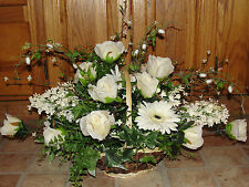 Table Centerpiece Silk Flower Arrangements Basket Bouquets Ivory Roses Fern