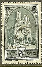 """FRANCE TIMBRE STAMP 259 C """" CATHEDRALE REIMS 3F TYPE IV """" OBLITERE TB"""