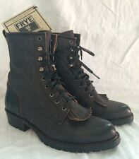 Women's FRYE Black Lace Up Sergeant Pepper Fringe Combat Boots Size 6 New Tags!