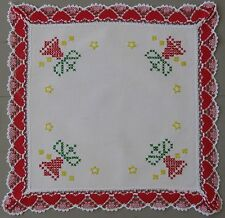 Vintage Swedish cross-stitched Christmas DOILY or small TABLE TOPPER with lace