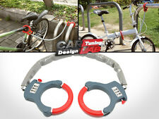 "20"" 500mm HAND CUFF Motorcycle Bike BICYCLE CHAIN LOCK 3 DIGIT CODE RED/GRAY"