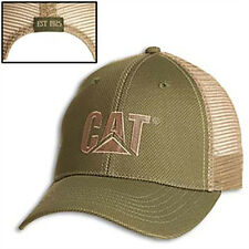 CAT CATERPILLAR *OLIVE & TAN* TRADEMARK LOGO Mesh Trucker HAT CAP * NEW* CA06