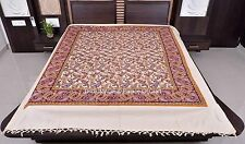 Indian Handmade Carpet Paisley Queen Size Blanket Wall Hanging Bedcover Drom Art