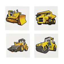 36 Construction Zone TATTOOS  birthday Party Favor DUMP TRUCK DIGGER BULLDOZER