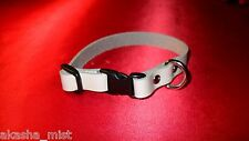 "PREMADE#CA5B WHITE LEATHER CAT COLLAR w/BLACK BREAKAWAY BUCKLE ADJUSTS 6"" TO 10"""