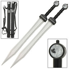 Ultimate Gladiator Greek Roman Twin Silver Dragon Gladius Sword Set