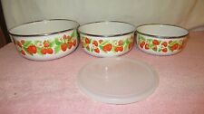 3 Vintage Kobe Kitchen Enamelware Nesting Bowls with Strawberry Design - a