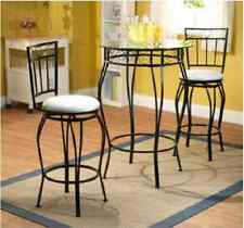 Dining Table Set for 2 Two Chair Glass Top Steel Pub Table Counter Height Small