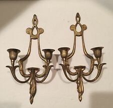 VINTAGE  Hollywood Regency BRASS WALL SCONCES 2 Arm CANDLES HOLDER LONG GOLD