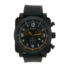 Elgin 1863 12103B Men's Cushion Chronograph Stainless Steel Black Leather Watch