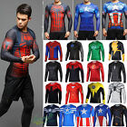 Mens Marvel Compression Long Sleeve T-shirt Runnning Jersey Under Base Layer Tee