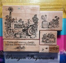 Stampin Up TIMES AND SEASONS Rooster Chicks Vintage Tractor Harvest Fall HTF
