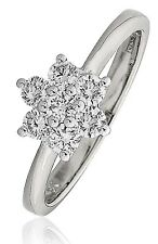 18CT WHITE GOLD 0.50CT GSI DIAMONDS CLUSTER LADY RING engagement  GOY166