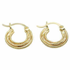 18k Yellow Gold GF Small Hoop Earrings Solid Lined Band Round Textured Hoop New