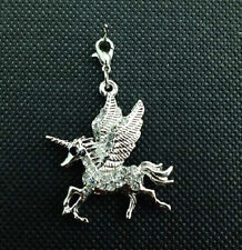 SILVER PLATED CRYSTAL UNICORN MYTHICAL HORSE CLIP ON CHARM